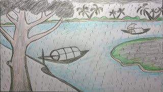 How to draw rainy season scenery by pencil  step by step