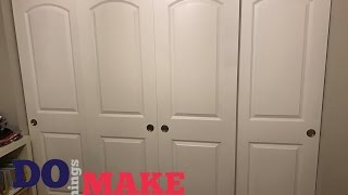 Today we are taking some standard interior doors and turning them into sliding closet doors. This is an easy DIY for anyone! Tools
