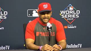 Davey Martinez meets with media before Game 1 of World Series
