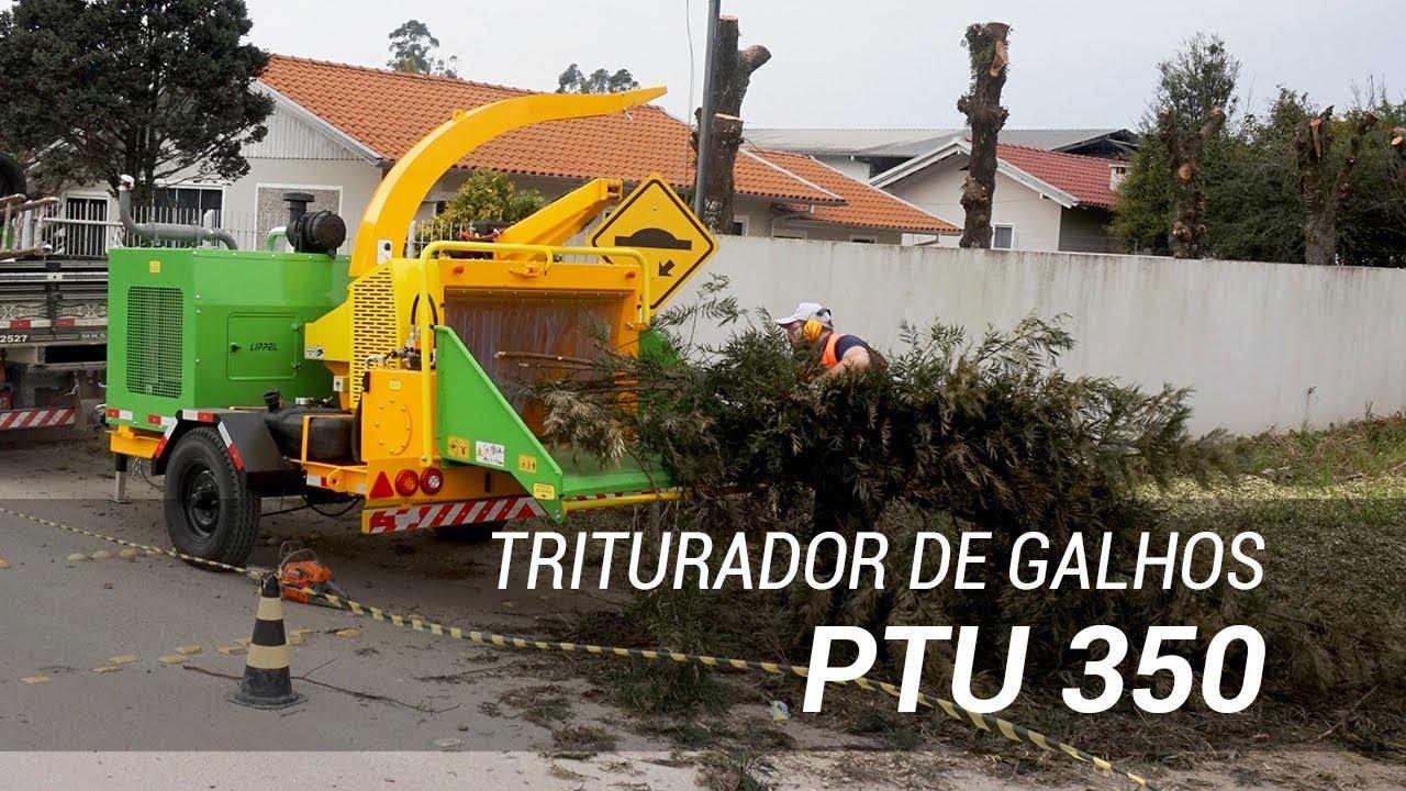 Triturador de Galhos com Guincho motorizado na limpeza urbana PTU 350