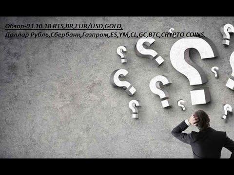 Обзор-03.10.18 RTS,BR,EUR/USD,GOLD, Доллар Рубль,Сбербанк,Газпром,ES,YM,CL,GC,BTC,CRYPTO COINS