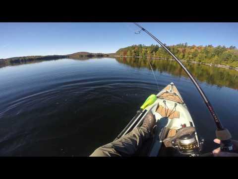 Kayak fishing Middle Saranac Lake in the Adirondack Park on October 11, 2016