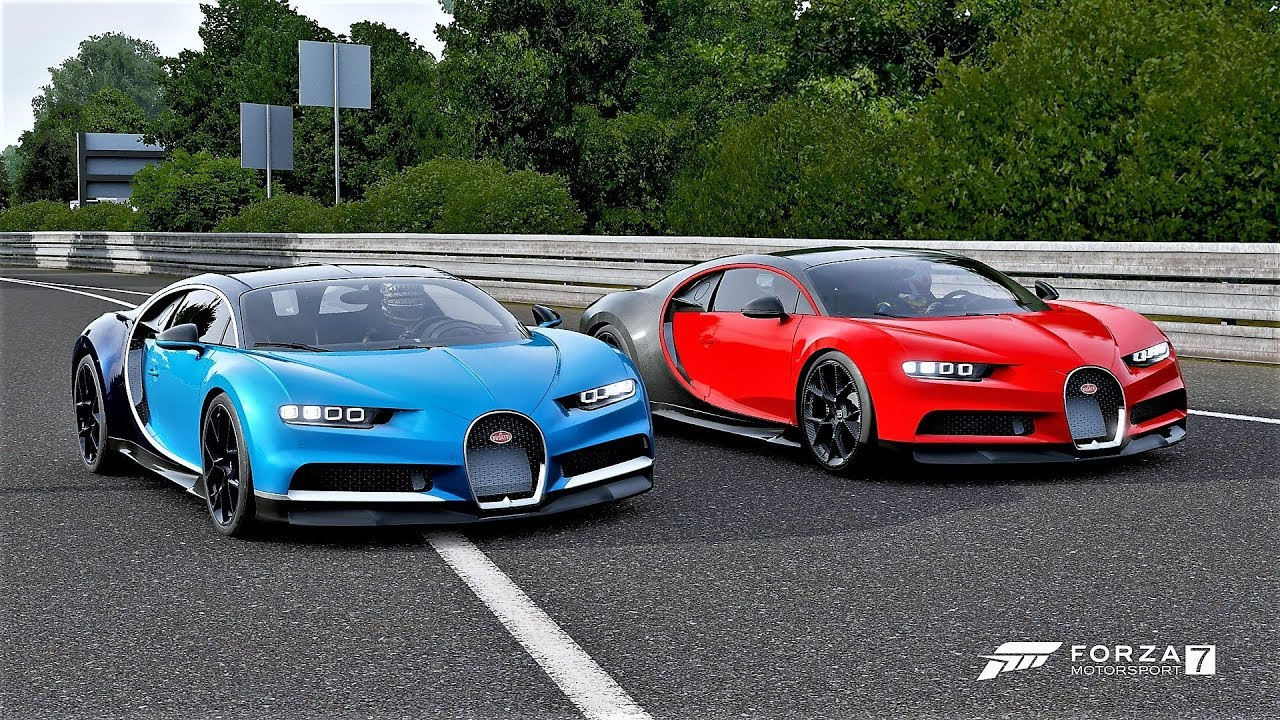 Forza 7 Drag Race Bugatti Chiron Sport Vs Bugatti Chiron Youtube
