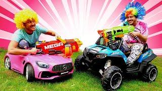 Онлайн игры стрелялки - Нерф Битва за машины - Видео приколы для детей.