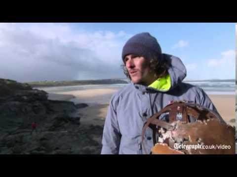 Windsurfers ride monster waves in Cornwall