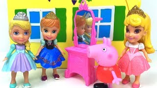 EL REGALO MISTERIOSO DE PEPPA PIG CON PAPA PIG Y PRINCESAS DISNEY ANA ELSA Y AURORA PLAY-DOH