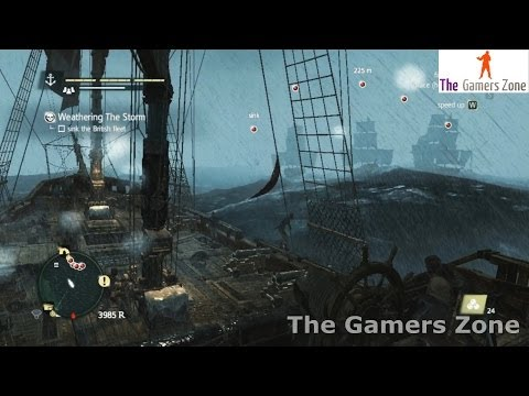 Assassin's Creed IV Black Flag walkthrough Naval Contract #13 Weathering The Storm 100% Sync