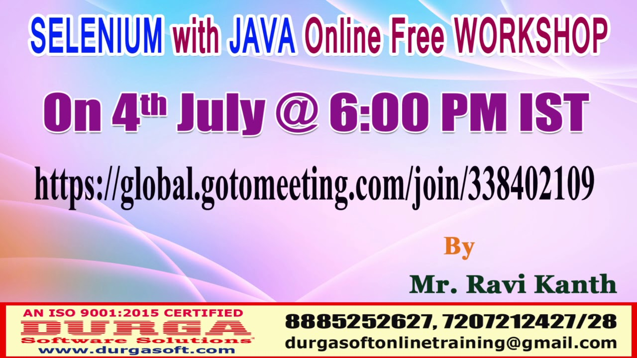 Selenium with java online free workshop youtube.