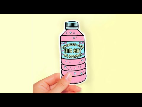'Ban Plastic Bottles' Adobe Illustrator Etsy Sticker