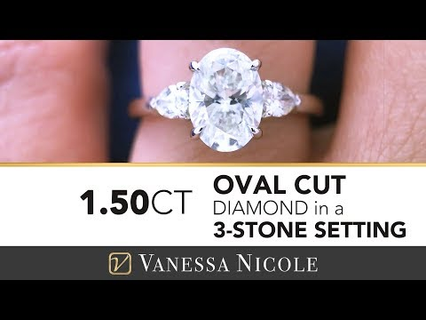 1.50ct Oval Diamond Three Stone Engagement Ring | Oval Cut Diamond Ring With Pear Cuts for Olivia