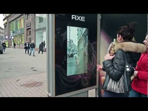 Meet the Axe Angel via AR bus shelter   BigBoard JCDecaux Russia