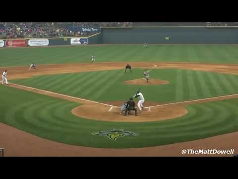 Tim Tebow HITS HOME RUN in his first at-bat  minor league debut 4/6/2017 video