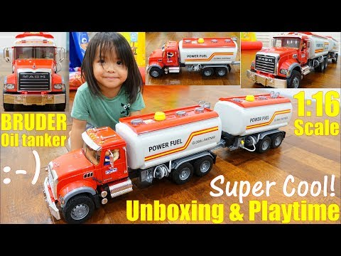 Children's TOY TRUCKS: New Bruder Truck! A MACK Oil Tanker T