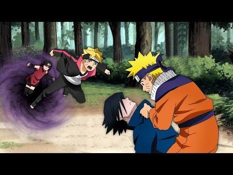 Боруто попадает в прошлое и видит там Наруто и Саске в аниме Боруто