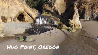 Hug Point, Oregon Coast. Drone (4K)