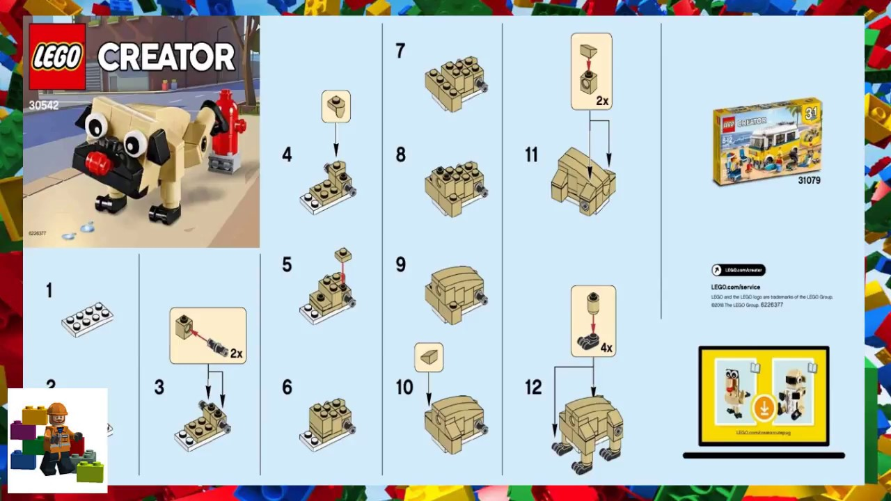 Lego Instructions Creator 30542 Cute Pug Youtube