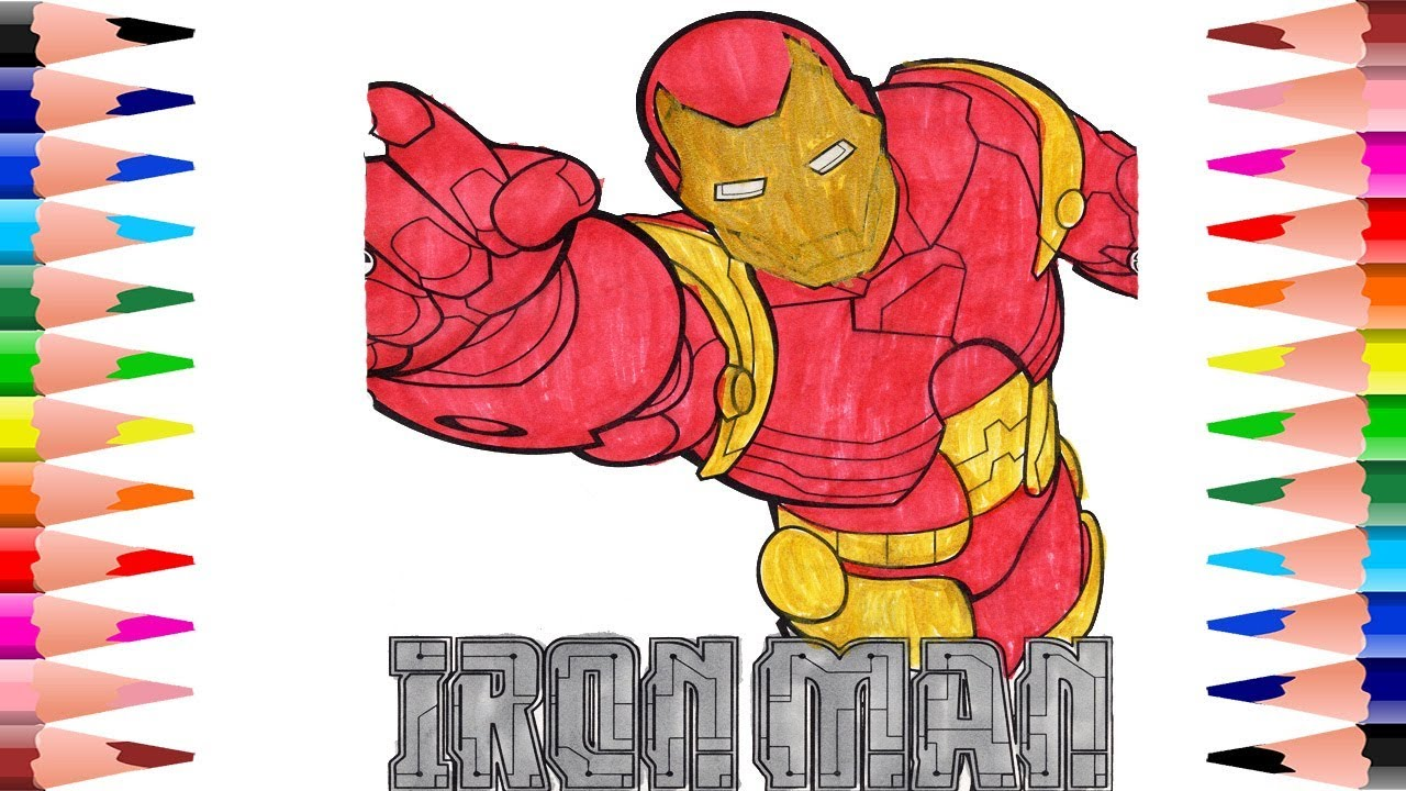 Painting Iron Man Marvel Coloring Pages For Kids