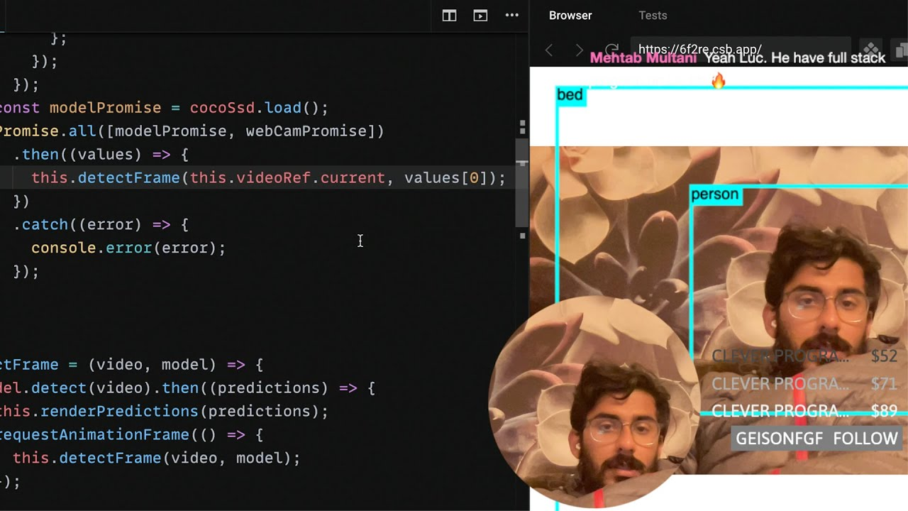 Face Detection + Machine Learning with React JS (Real Time Object Detection using Tensorflow)