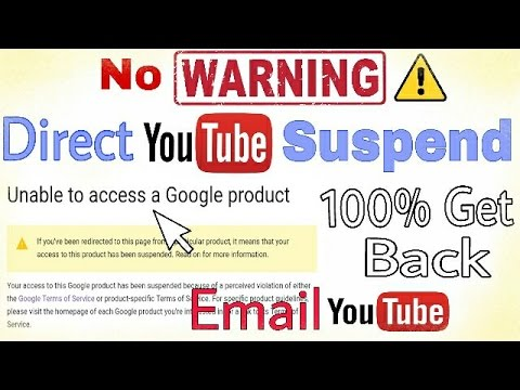 How To Return YouTube Terminated Suspended Chanel | Unable To Access a Google Product