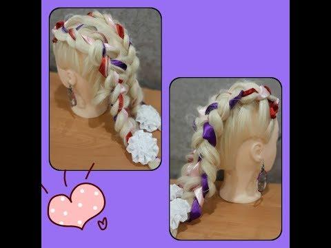 Прическа для первоклассницы на 1 сентября на длинные волосы из лент / Прическа в школу