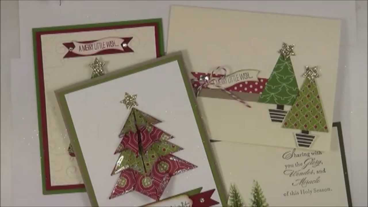origami folded christmas tree stampin up class to go youtube - Folded Christmas Cards
