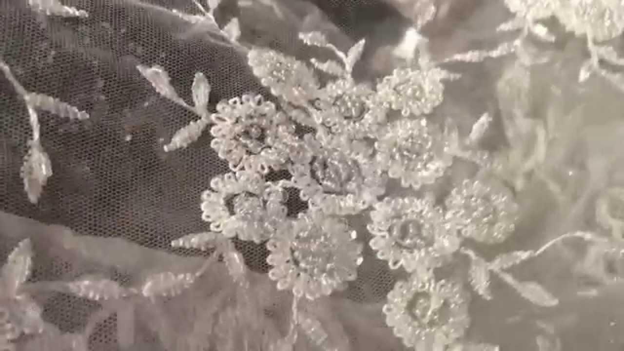 Dentelle perl e au m tre pour mariage et c r monie youtube - Voile de forcage au metre ...