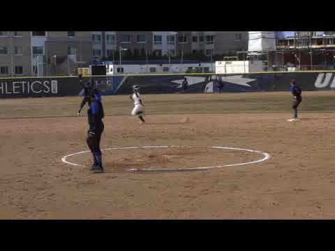 UMass Boston Softball vs  #19 Babson College Game One Highlights (3/28/18)