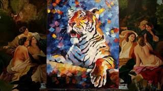 Картина маслом Тигр, художник Кумаченко Валерия, пишем картину  мастихином в стиле Леонида Афремова