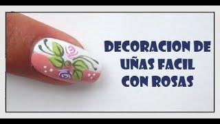 DECORACION DE UÑAS FACILES CON ROSAS