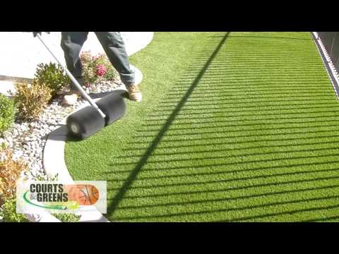 How To Use A Power Broom for Artificial Fake Grass Turf Installation Bakersfield CA (855) 390-5563
