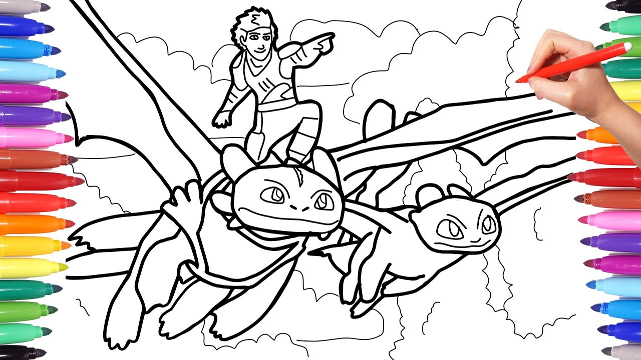 How To Train Your Dragon 3 Coloring Pages Coloring Hiccup And