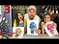 3 MARKER CHALLENGE with DAD!!
