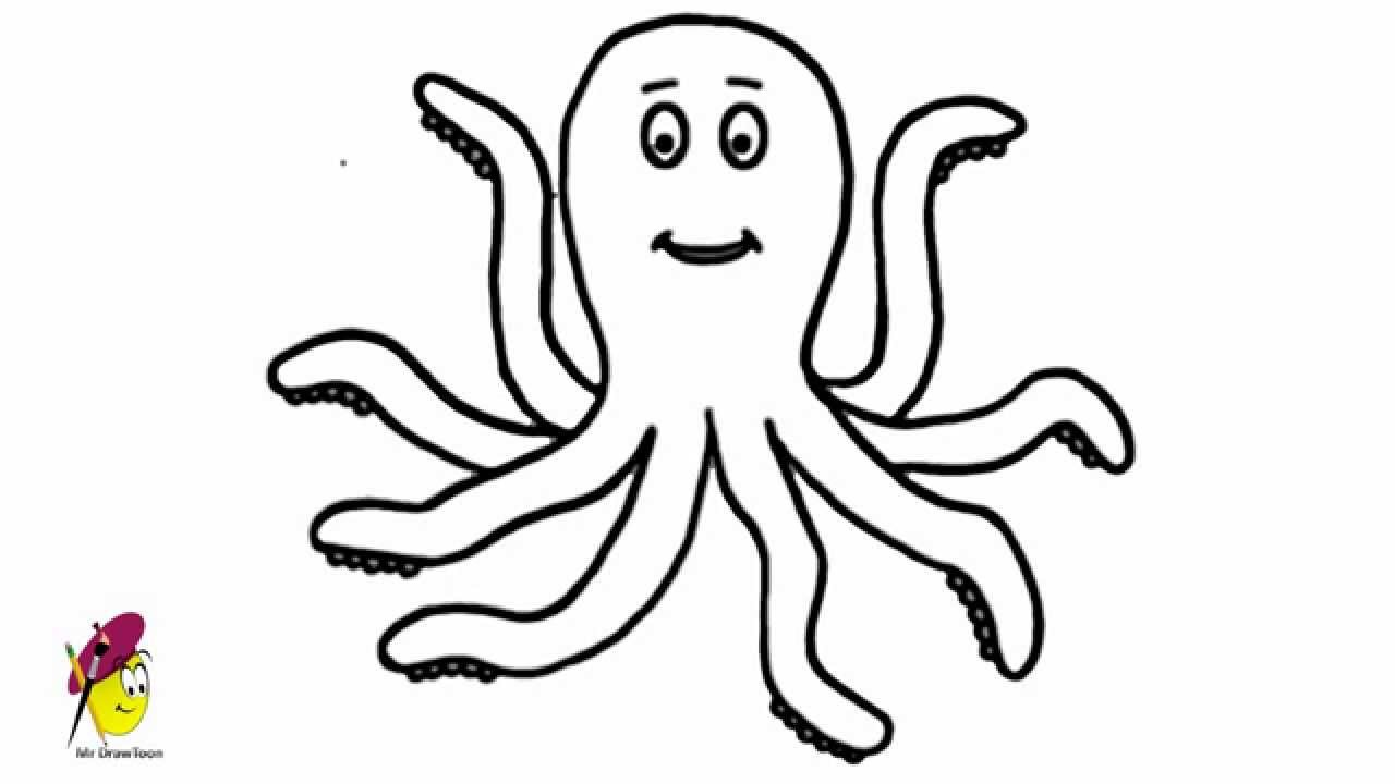 Line Drawing Of Water Animals : Happy octopus sea animals easy drawing how to draw