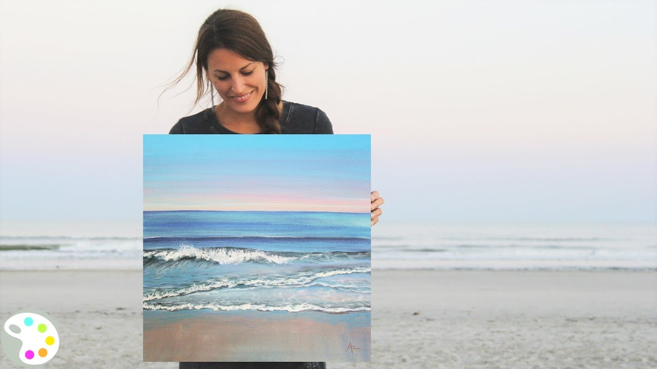 How To Paint In Acrylics Ocean Painting Tutorial Youtube