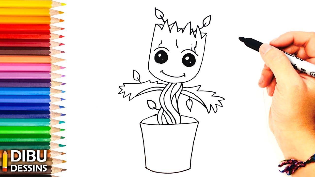 Comment dessiner Groot   Dessin de Groot - YouTube