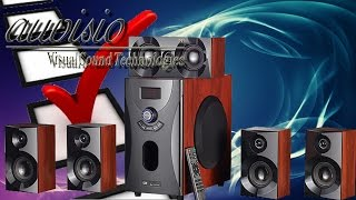 Hardware Check -  auvisio Home-Theater Surround-Sound-System 5.1, MP3 / Radio, Holzoptik