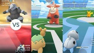 Pokémon Go Gym Battle Gen 3: Aron, Numel, Pikachu vs Aggron & Camerupt