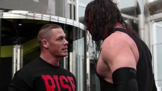 WWE superstar John Cena performs Attitude Adjustment on Kane at top of Burj Khalifa
