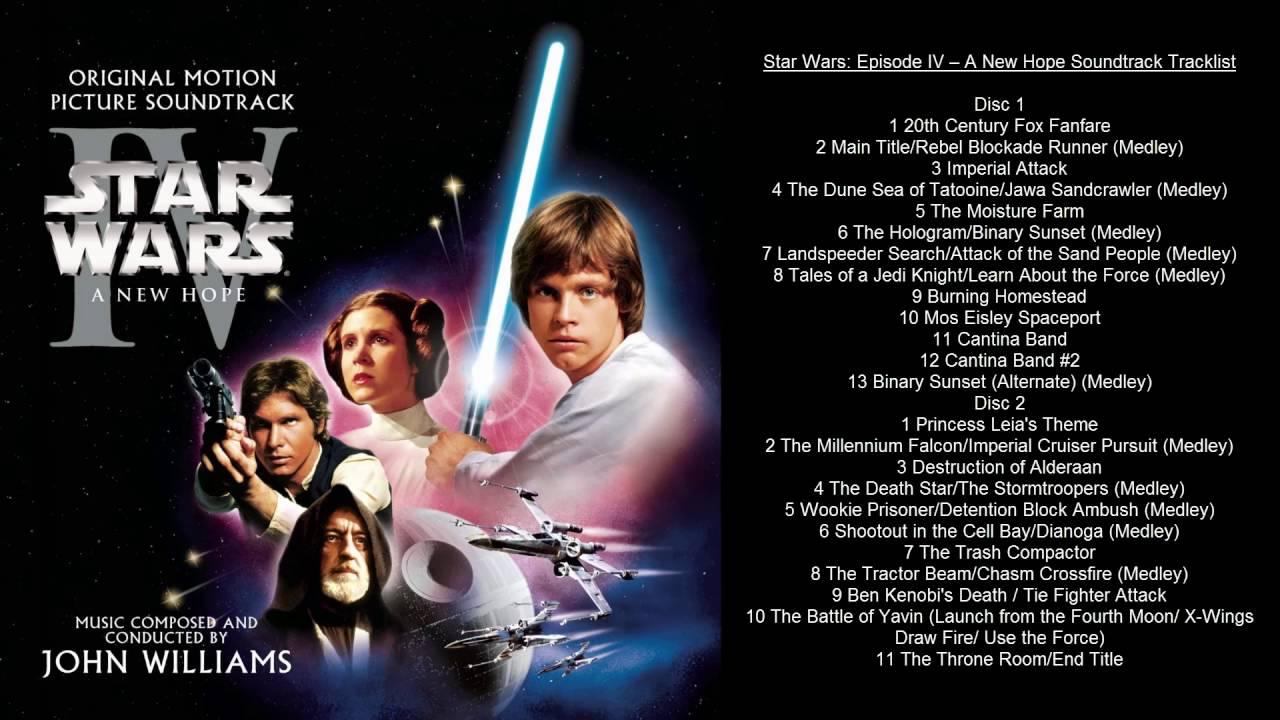 Star Wars Episode Iv A New Hope Soundtrack Tracklist Youtube