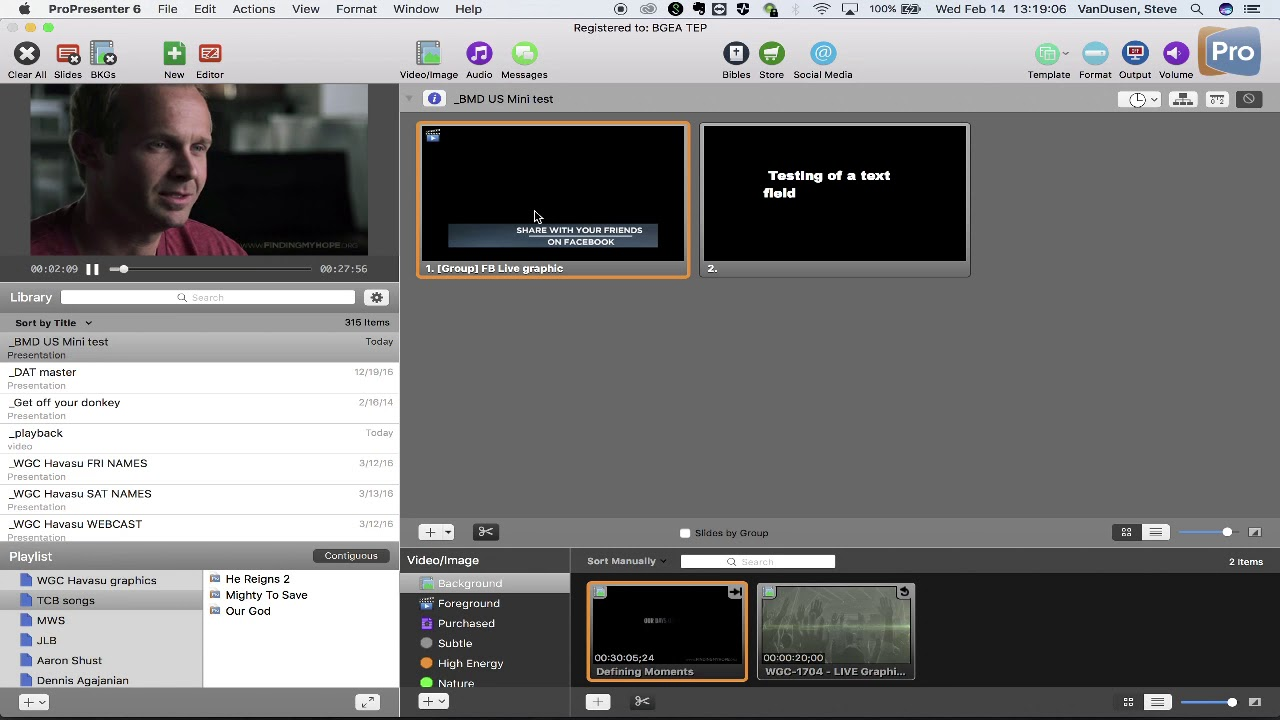 PRO PRESENTER: keying PNG graphics with Alpha on top of video withing PP