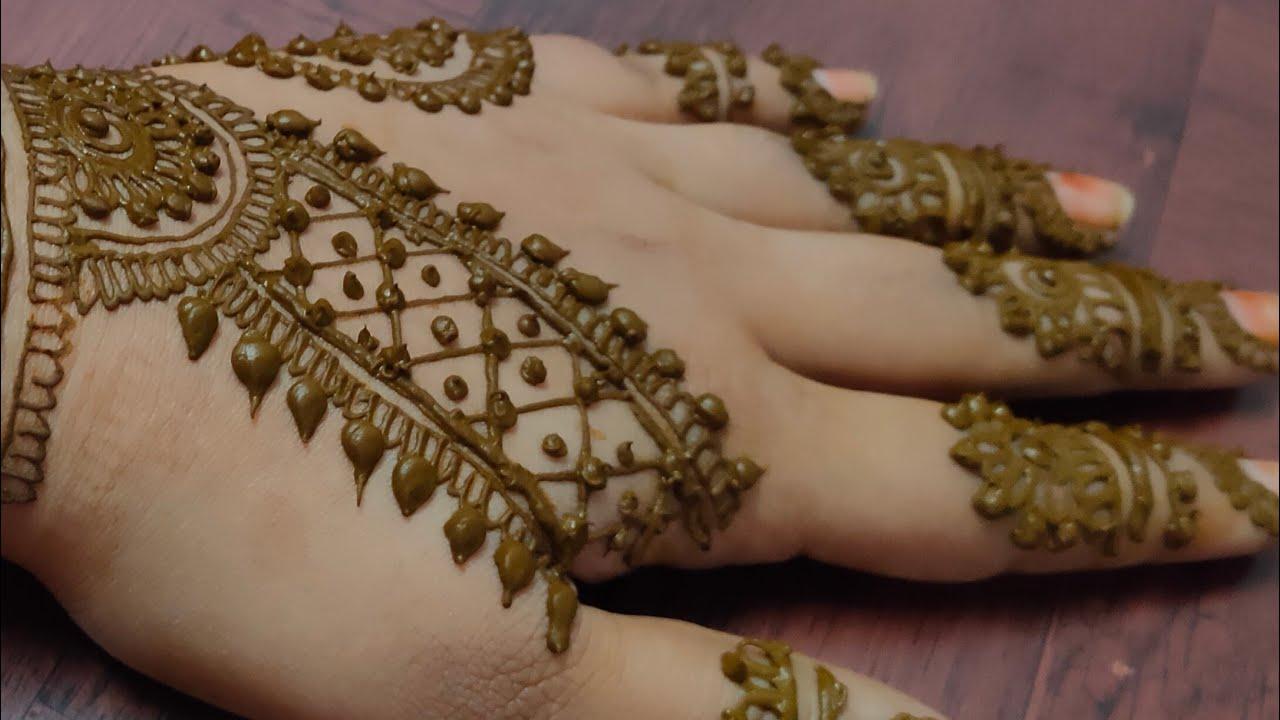 Easy and quick mehendi design for back hand ❤️/ulfat henna art