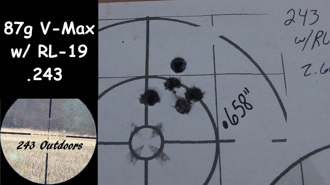 243 (87g V Max with Reloader 19)