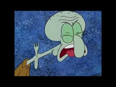 Squidward choking on a fork for 10 hours
