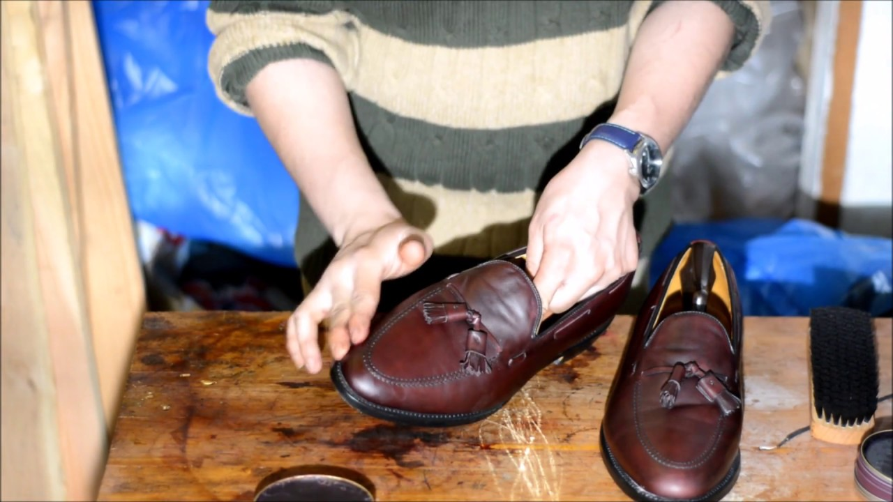 1182398d6a ASMR How to shine dress shoes Allen Edmonds burgundy Grayson Tassel Loafers