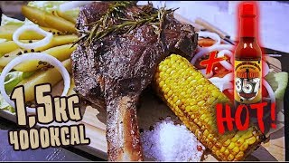 1,5KG STEK TOMAHAWK W B.B.KINGS (+ BURGER 357,000 SHU) | [Epic Cheat Meal]