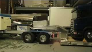 custom built R/C Lowboy trailer on custom king hauler w/ real hydraulics !!!