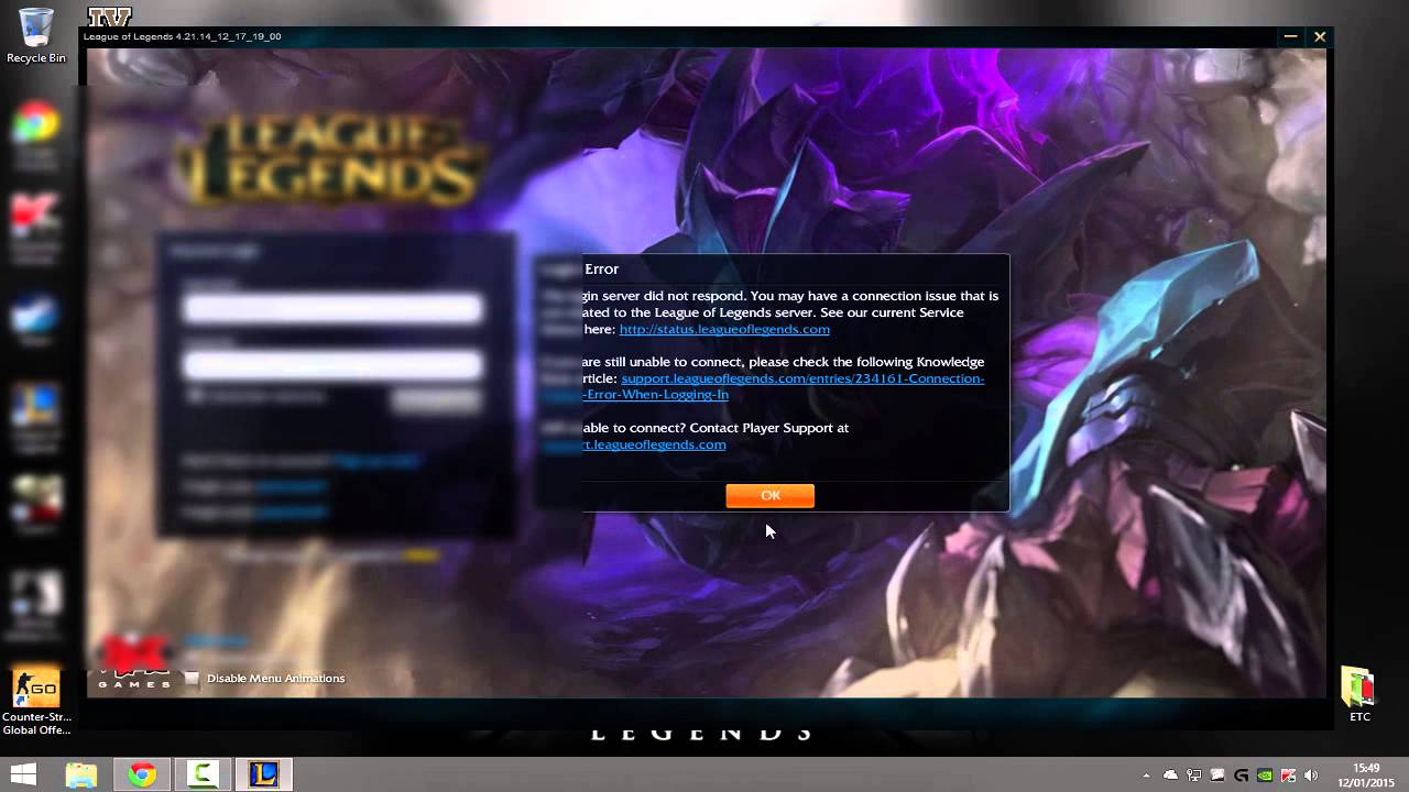 Black Screen Login League of Legends (after Launch) :: League of