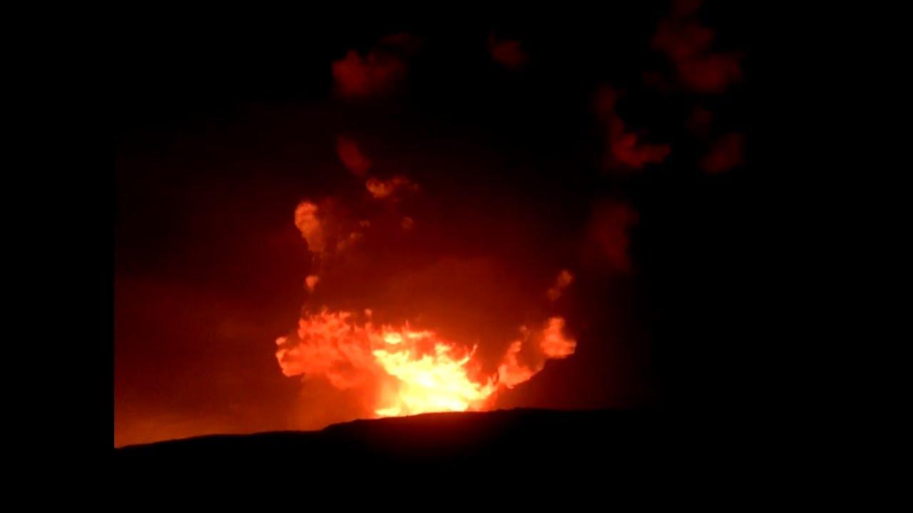 Hawaii Kilauea Volcano Eruption in Halemaumau Crater Lava Lake December 20-31, 2020.