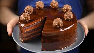 Ультра шоколадный торт покрытый зеркальной глазурью Рецепт простой шоколадной глазури