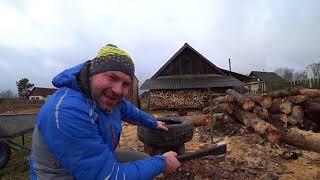 Обзор топор-колуна FISKARS Х21 и техника колки дров в старой покрышке